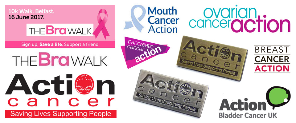 Antique plated Action Cancer pin badges