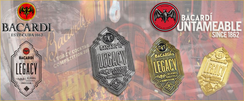 Premium personalised metal badges custom made for the 2017 Bacardi Legacy cocktail event