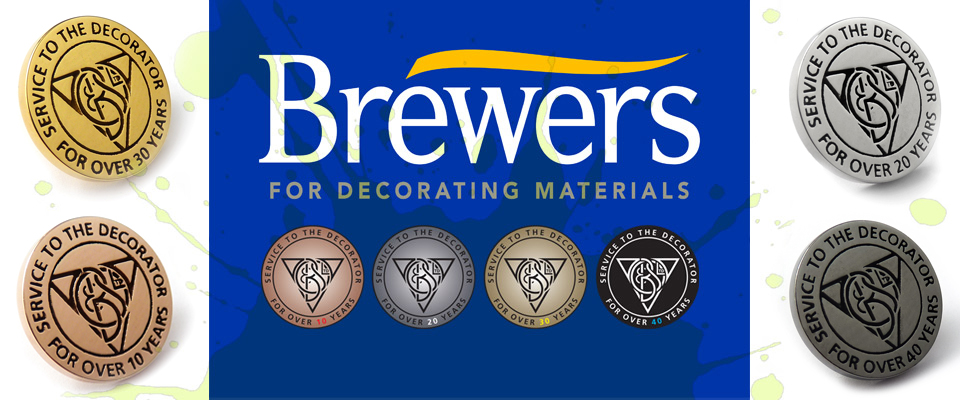 Premium gold plated metal service badges handcrafted for Brewers