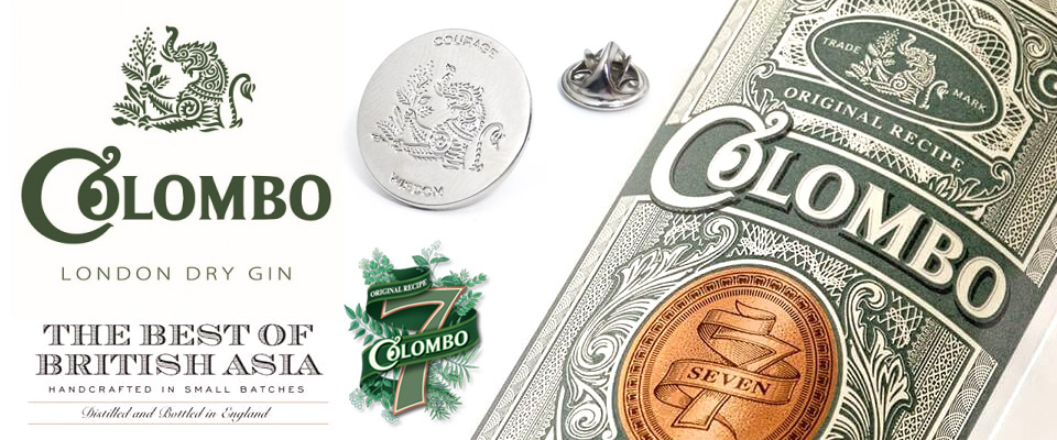 Shiny silver plated Colombo Gin metal badges