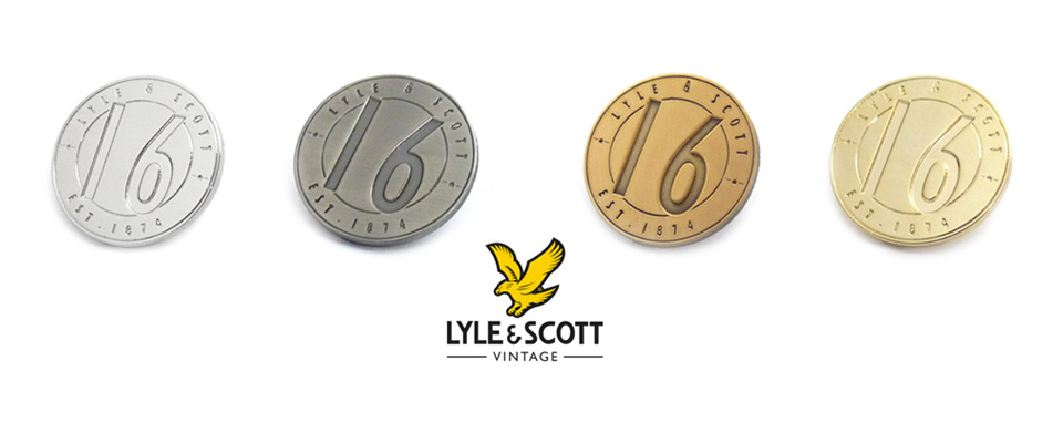 Personalised pin badges customized for Lyle & Scott