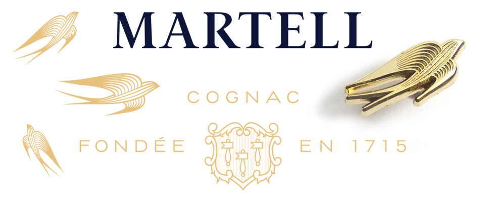 Branded company metal pins made for Martell