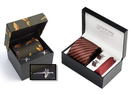 Custom company silk tie and cufflink box sets